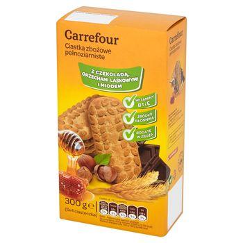 Carrefour Ciastka zbożowe pełnoziarniste z czekoladą orzechami laskowymi miodem 300 g (6 x 4 sztuki)
