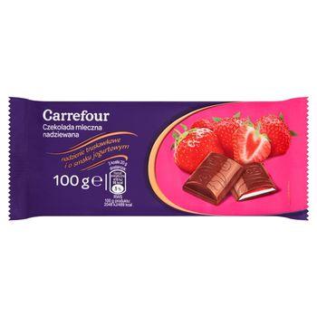 Carrefour Czekolada mleczna nadziewana nadzienie truskawkowe i o smaku jogurtowym 100 g