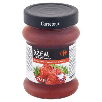 Carrefour Dżem truskawkowy o obniżonej zawartości cukrów 270 g