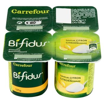 Carrefour Fermentowany napój mleczny o smaku cytrynowym 500 g (4 sztuki)