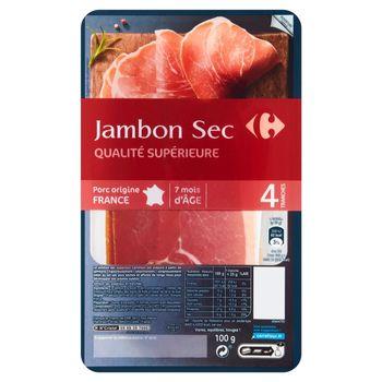 Carrefour Jambon Sec Szynka wieprzowa 100 g (4 plastry)