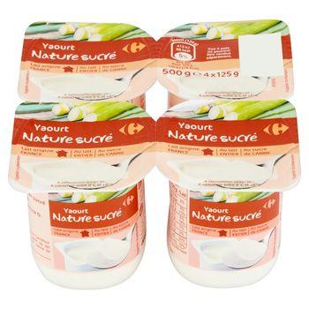 Carrefour Jogurt naturalny słodzony cukrem trzcinowym 500 g (4 sztuki)