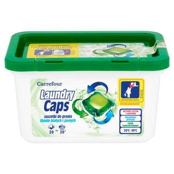 Carrefour Laundry Caps Saszetki do prania tkanin białych i jasnych 480 g (20 sztuk)