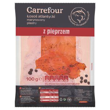 Carrefour Łosoś atlantycki marynowany plastry z pieprzem 100 g