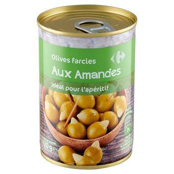 Carrefour Oliwki zielone nadziewane migdałami 280 g