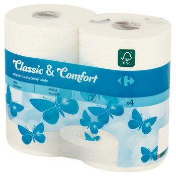 Carrefour Papier toaletowy biały 4 rolki