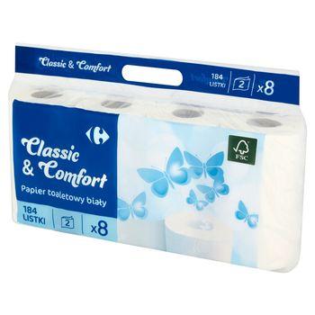 Carrefour Papier toaletowy biały 8 rolek