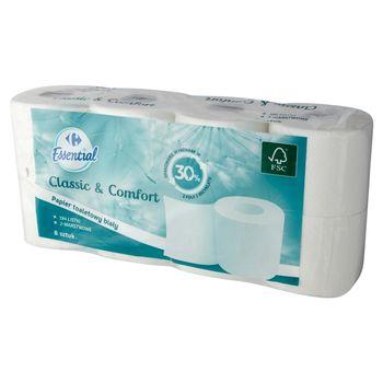 Carrefour Essential Papier toaletowy biały 8 rolek