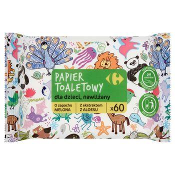 Carrefour Papier toaletowy dla dzieci nawilżany 60 sztuk