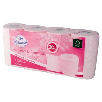 Carrefour Essential Papier toaletowy różowy 8 rolek