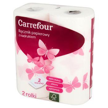 Carrefour Ręcznik papierowy z nadrukiem 2 rolki