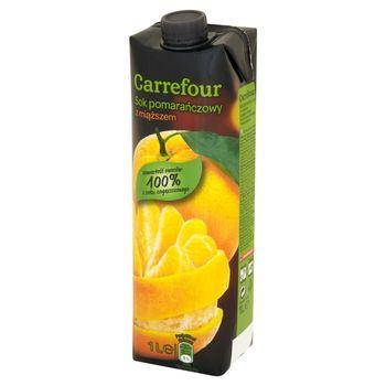 Carrefour Sok pomarańczowy z miąższem 1 l