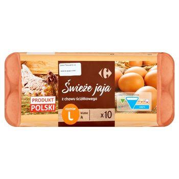 Carrefour Świeże jaja z chowu ściółkowego L 10 sztuk
