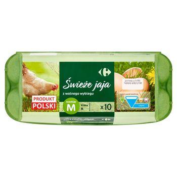 Carrefour Świeże jaja z wolnego wybiegu M 10 sztuk