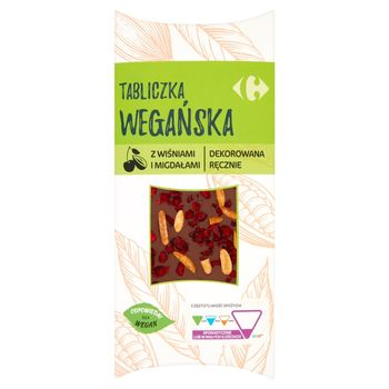 Carrefour Tabliczka wegańska z wiśniami i migdałami 100 g