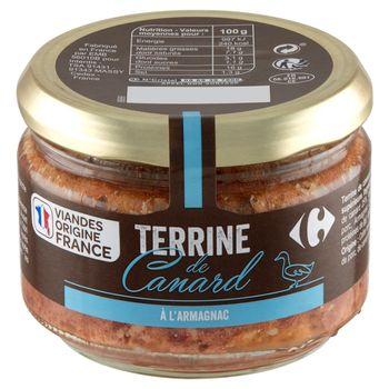 Carrefour Terrine Konserwa drobiowo-wieprzowa z mięsem kaczki i alkoholem Armagnac 180 g
