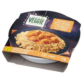 Carrefour Veggie Danie z kaszy bulgur z pikantnym sosem pomidorowym i klopsikami z ciecierzycy 300 g