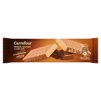 Carrefour Wafelek z kremem o smaku toffi w czekoladzie mlecznej 40 g