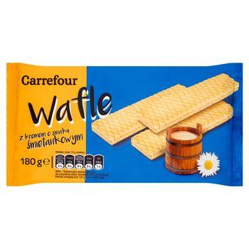 Carrefour Wafle z kremem o smaku śmietankowym 180 g