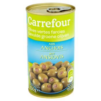 Carrefour Zielone oliwki Manzanilla nadziewane anchois 350 g