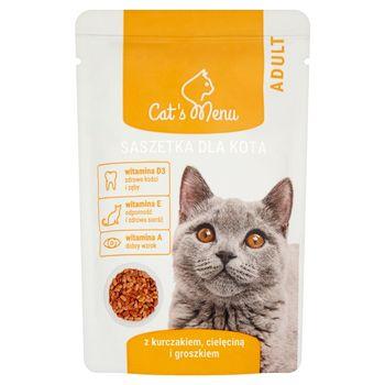 Cat's Menu Adult Saszetka dla kota z kurczakiem cielęciną i groszkiem 100 g