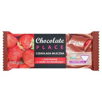 Chocolate Place Czekolada mleczna z nadzieniami o smaku truskawkowym 100 g