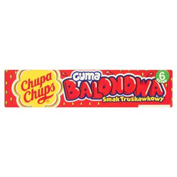 Chupa Chups Guma balonowa o smaku truskawkowym 27,6 g (6 sztuk)