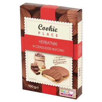 Cookie Place Herbatniki w czekoladzie mlecznej z kremem orzechowo-kakaowym 150 g