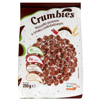 Crumbies Muszelki pszenne o smaku czekoladowym 250 g