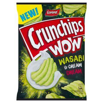 Crunchips Wow Grubo krojone chipsy ziemniaczane o smaku kremowego wasabi 110 g