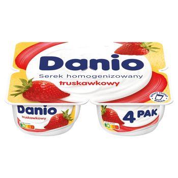 Danio Serek homogenizowany truskawkowy 560 g (4 x 140 g)