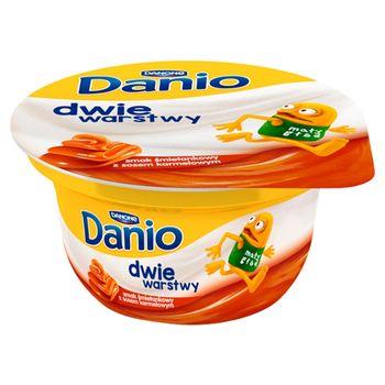 Danone Danio Dwie warstwy Serek homogenizowany o smaku śmietankowym z sosem karmelowym 120 g