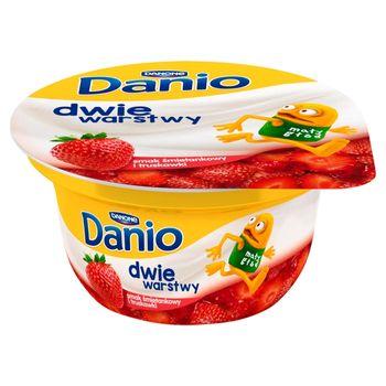Danone Danio Dwie warstwy Serek homogenizowany o smaku śmietankowym z truskawkami 120 g