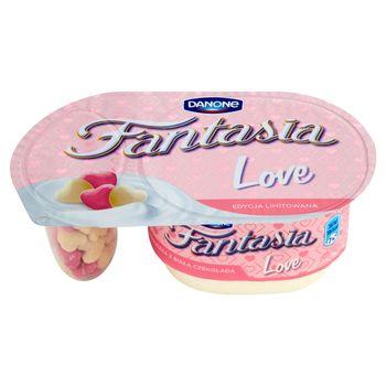 Danone Fantasia Love Jogurt kremowy ze zbożowymi serduszkami z białą czekoladą 98 g