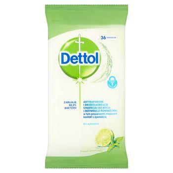 Dettol Antybakteryjne chusteczki do mycia powierzchni o zapachu limonki z miętą 36 sztuk