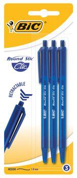 Długopis BIC Długopis Round Stic Clic Niebieski Blister 3