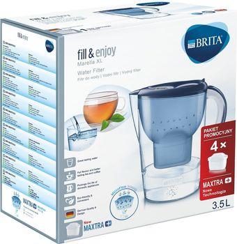 Dzbanek do wody BRITA Marella XL niebieski + 4 wkłady Maxtra+