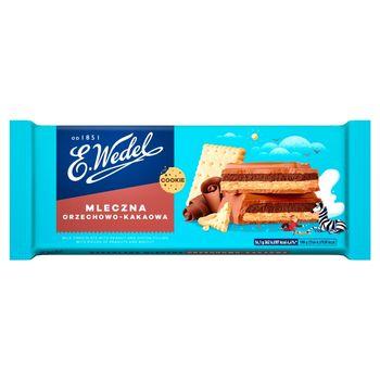 E. Wedel Cookie Czekolada mleczna z nadzieniem orzechowo-kakaowym z orzeszkami i herbatnikiem 290 g