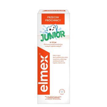 elmex Junior Płyn do płukania jamy ustnej z aminofluorkiem bez alkoholu dla dzieci 6-12 lat 400 ml