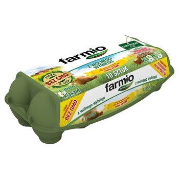 Farmio Jaja z wolnego wybiegu od kur karmionych paszą z soją bez GMO L 10 sztuk