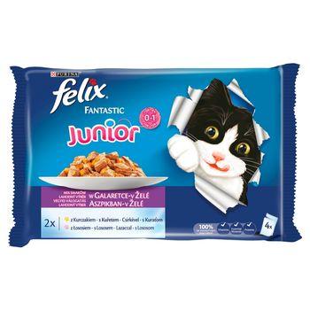 Felix Fantastic Junior Karma dla kociąt wybór smaków w galaretce 400 g (4 x 100 g)