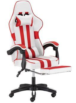 Fotel Gamingowy Obrotowy Ts Interior Drift z Podnóżkiem Biało-Czerwony