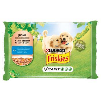 Friskies Vitafit Junior Karma dla psów z kurczakiem i marchewką w sosie 400 g (4 x 100 g)
