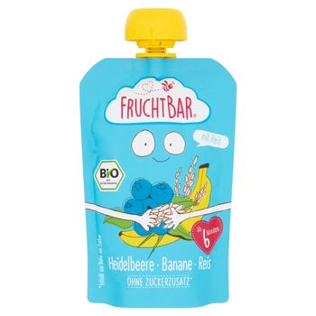 FruchtBar Ekologiczny mus owocowy ze zbożem borówka banan ryż 100 g
