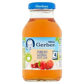 Gerber 100% sok jabłko wiśnia po 4. miesiącu 200 ml