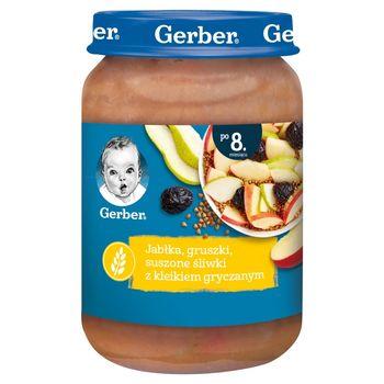 Gerber Jabłka gruszki suszone śliwki z kleikiem gryczanym dla niemowląt po 8. miesiącu 190 g
