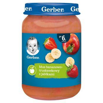Gerber Mus bananowo-truskawkowy z jabłkami dla niemowląt po 6. miesiącu 190 g