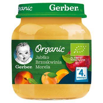Gerber Organic Jabłko brzoskwinia morela dla niemowląt po 4. miesiącu 125 g