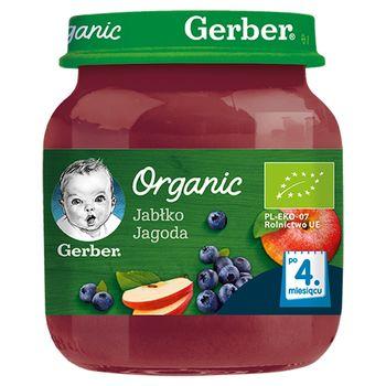 Gerber Organic Jabłko jagoda dla niemowląt po 4. miesiącu 125 g