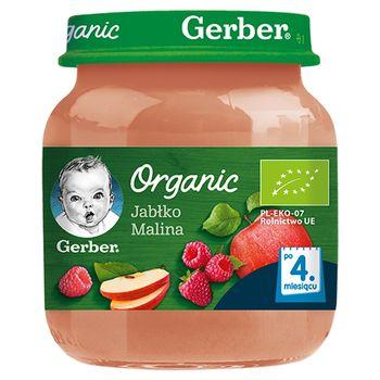 Gerber Organic Jabłko malina dla niemowląt po 4. miesiącu 125 g